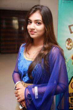 Nazriya Nazim Long Hair Blue Dress Photo shoot Gallery