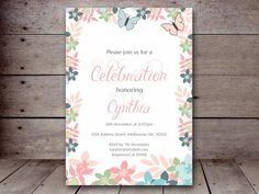 editable butterfly baby shower invitation floral butterfly bridal shower