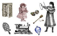 Collection of Victorian toys includes doll, doll clothes, spinning top, hoop, train engine, marbles, cup and ball and paddle ball