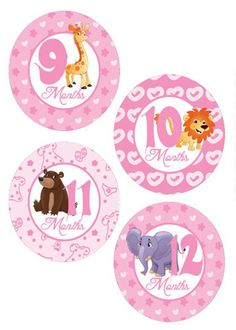 Those are amazing milestones for your baby to achievement in such a short amount of time as he develops his speech and language abilities. Baby Month Stickers, Custom Tags, Baby Milestones, Baby Month By Month, Baby Animals, Baby Shower Gifts, Baby Onesie, Prints, Etsy
