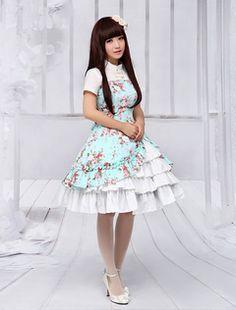 Vestido de Lolita de 100% algodón con estampado floral