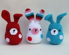 "Cute bunnies which are easy to make. The pattern is free on the Stip and Haak blog. The website is in Dutch. Go to the site and click on the right on ""Download pattern"" to get the English PDF."