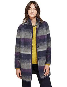 Button Through Checked Overcoat with Wool