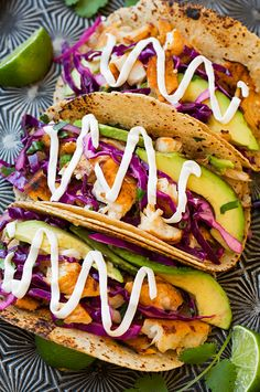 The 25 Best Taco Recipes Ever, We Swear! - Grilled fish tacos with lime cabbage slaw: healthy and delicious. Fish Dishes, Seafood Dishes, Seafood Recipes, Mexican Food Recipes, Tilapia Recipes, Indian Recipes, Chicken Recipes, Grilling Recipes, Cooking Recipes