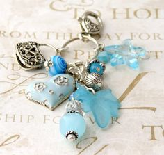 Light Turquoise and Silver Clip On Purse Charms PC1527