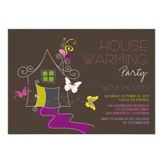 Butterflies Deco Leaves House Warming Party Invite