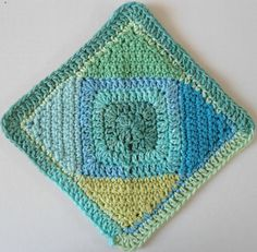 Square on point dishcloth (pattern). Love the colors!
