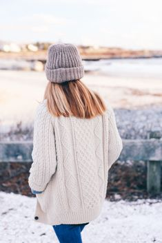 Knit Beanie and Chunky Knit Sweater Prosecco & Plaid