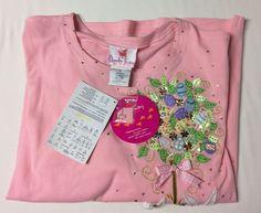 Quacker Factory Womens XL Pink Top Embellished Tree Rabbit Spring Easter Theme #QuackerFactory #Shirt #Casual