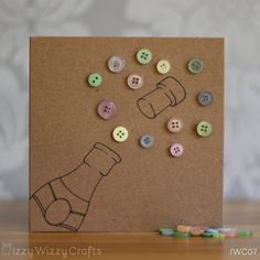Congratulations Champage Button Greetings Card  by IzzyWizzyCrafts