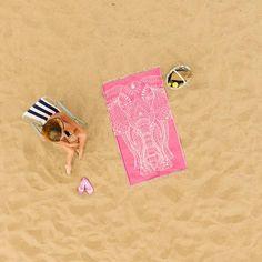 Aaliya (Pink Elephant) Beach Towel - Cotton Fellas