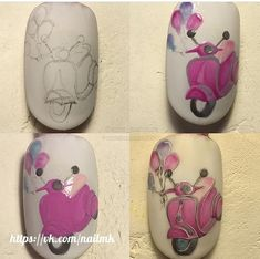 Pop Art Nails, Short Nails Art, Vintage Nail Art, Nail Art Wheel, Romantic Nails, Nail Art Pictures, Painted Nail Art, Easter Nails, Nail Art Galleries