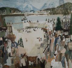 """Riverboat, Rockies, Teepees, Cattle"" 16""x15"" oil on panel (photo taken by jesse friedman)"