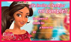 Elena de Avalor - tarjeta de cumpleaños para imprimir gratis