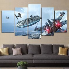 Millennium Falcon X-Wing - 5 Panel Canvas Wall Art | Star Wars | Panelwallart.com