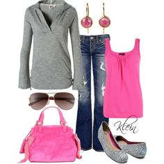 """Pink and grey casual"" by stacy-klein on Polyvore"
