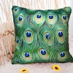 Free shipping peacock pillow cover for sofa bed computer chair  2pcs/lot Decorative pillow novelty gift $13.58