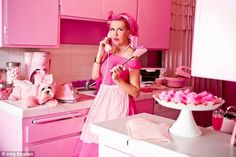 Kitten Kay Sera, from Hollywood, California, has has been crowned the world's pinkest person by Ripley's Believe it or Not after decorating her home, filling her wardrobe and dyeing her hair the shade. Pink Lady, Pink Piano, Pink Toilet, Pink Wardrobe, Pink Wrapping Paper, Pink Vanity, Hollywood, Pink Dog, Everything Pink