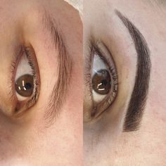 Eyebrow tattoo Hair stroke feather touch tattooed eyebrows Cosmetic tattoo feathering microblading Melbourne