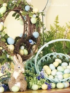 blogs with easter mantles | ve also decorated the dining room buffet for easter and