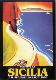 """Sicily: """"Visitate la Sicilia e il suo mare meraviglioso"""" Vintage Italian Posters, Pub Vintage, Vintage Italy, Vintage Travel Posters, Art Deco Posters, Cool Posters, Retro Poster, Italian Art, Flyer"""