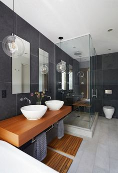 bathroom pendant lighting Bathroom Renos, Laundry In Bathroom, Small Bathroom, Master Bathroom, Bathroom Ideas, Bathroom Renovations, Bathroom Vinyl, Bathroom Mirrors, Wall Mirrors