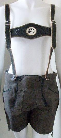 German Leather Lederhosen Oktoberfest Trachten Shorts & Suspenders