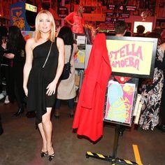 Kate Hudson in an asymmetrical black dress at the Stella McCartney party at Amoeba