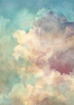 Sky Landscape  Cloud Painting  Original Watercolour  by KiteFlier, $30.00