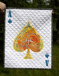 Playing card mini quilt, reverse applique by 13 Spools Quilting Tutorials, Quilting Projects, Quilting Designs, Quilting Ideas, Lap Quilts, Mini Quilts, Reverse Applique, Fabric Postcards, Thread Painting