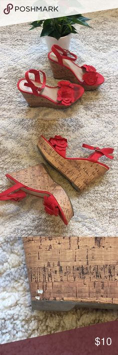 Fioni wedge heels 👠 size 7 Super cute wedges for the spring and summer! These shoes are loved. Signs of wear are shown in pictures.  Size 7. Fire engine red. FIONI Clothing Shoes Wedges