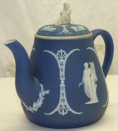 Antique Wedgwood Dark Blue Dip Jasper Ware Teapot w/ Widow Sybil Lid