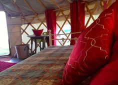 Caerfai Organic Farm Yurts, Pembrokeshire. Fabulous views of the Pembrokeshire Coast overlooking Caerfai Bay. Direct access to the coastal path and a two minute walk to the sandy beach http://www.organicholidays.co.uk/at/3296.htm