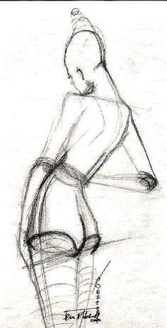 Croqui feminino, costas