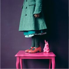 pink rabbit, polka dot shoes, old fashioned coat, I love it. Look Fashion, Kids Fashion, Polka Dot Shoes, Pink Rabbit, Blue Coats, Everything Pink, Boho, Vintage Children, Color Combos