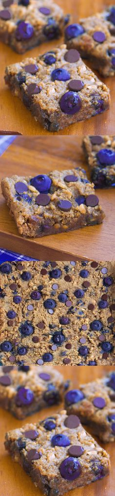 Dangerously addictive chocolate chip cookie bars... like the lovechild of a chocolate chip cookie and a blueberry pie! Recipe link: http://chocolatecoveredkatie.com/2015/08/13/chocolate-chip-blueberry-bars-flourless/
