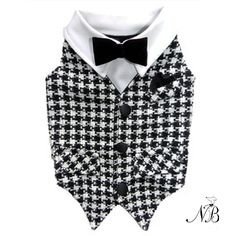 Houndstooth Wool Formal Dog Vest with Black Bowtie   Neiman Barkus Couture  - Made in the USA.  Teacup - Small Dog Sizes.  Everything you need for a Dapper Dog.  Shop Now.