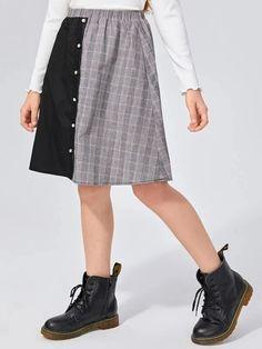 Girls Buttoned Front Lace Detail Plaid Panel Skirt – Kidenhouse Leopard Print Skirt, Floral Print Skirt, Pleated Skirt, Midi Skirt, Girl Skirts, Front Lace, Autumn Summer, Printed Skirts, Lace Detail