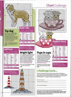 Collie and pups in a teacup motifs free cross stitch patterns