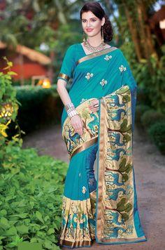 Blue Dupion Silk Saree with Blouse