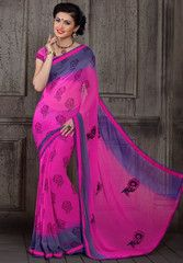 Magenta Color Georgette Casual Party Sarees : Dipmala Collection YF-30271