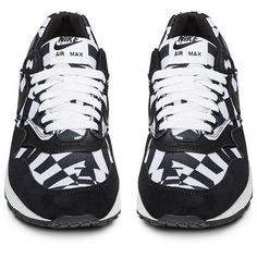 online store 646c7 755c2 Nike Black and White Suede and Mesh Air Max 1 GPX Low Top Sneaker ( 171) ❤  liked on Polyvore