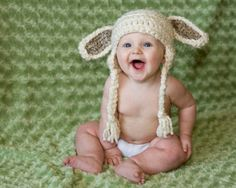 Baby Hat Crochet Lamb Baby Hat Costume Toboggan Beanie gifts Crochet Kids Child Toddler Easter. $22.00, via Etsy.