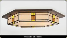 Contemporary Style Craftsman Light Select from many wood and glass colors to match your interior decor. Different styles, sizes and shapes are available. Decorative Ceiling Lights, Glass Ceiling Lights, Foyer Lighting, Flush Lighting, Dining Room Light Fixtures, Ceiling Light Fixtures, Craftsman Lighting, Room Lights, Stained Glass