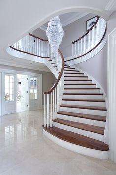 design elevation 55 Luxurious Grand Staircase Design Ideas That are Just Spectacular Foyer Staircase, Wooden Staircases, Curved Staircase, Wooden Stairs, Staircase Design, Stairways, Luxury Staircase, Staircase Ideas, Stairs White And Wood