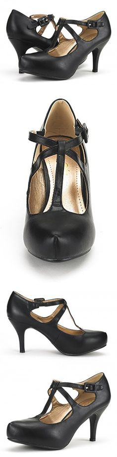 DREAM PAIRS OFFICE-5 Women's New Classic Mary Jane Almond Toe High Heel Platform Pumps Shoes Black-PU Size 8.5