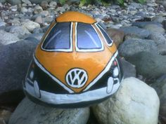Yellow and Black VW Volkswagen Bus Painted River Rock. $20.00, via Etsy.