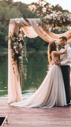 Beautiful outdoor wedding ceremony site // Nude tinted wedding dress