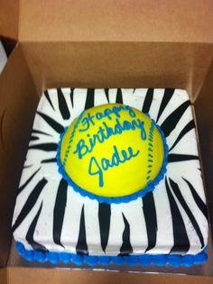 Happy Birthday, softball cake for Jadee Softball Birthday Cakes, Softball Party, My Birthday Cake, Softball Stuff, Girl Birthday, Softball Cupcakes, Birthday Ideas, Happy Birthday, 9th Birthday Parties