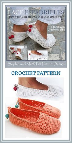 A great slipper to wear around the house or make them as street shoes! Lace Slippers/Espadrilles - Crochet Pattern - Instant Download Pdf #crochet #crochetpattern #ad #slippers #diy #shoes